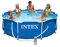 Бассейн каркасный 305х76 см, V-4485л, Intex Metal Frame Pool 28202 фильтр в комплекте, фото 1