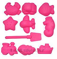 """Формочки Игрушки для кинетического песка 10 фигур """"Морские зверушки"""" розовые (игрушки для песочницы)"""