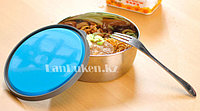 Контейнер для еды (ланч бокс) Homio ROUND STEEL STAINLESS Food container 3 в 1 (голубой)