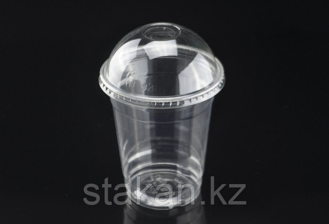 Пластиковые стаканы с купольной крышкой, 400мл.