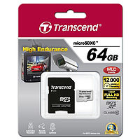 Карта памяти Micro SDXC 64Gb Transcend, Class 10, High Endurance, адаптер (113693)