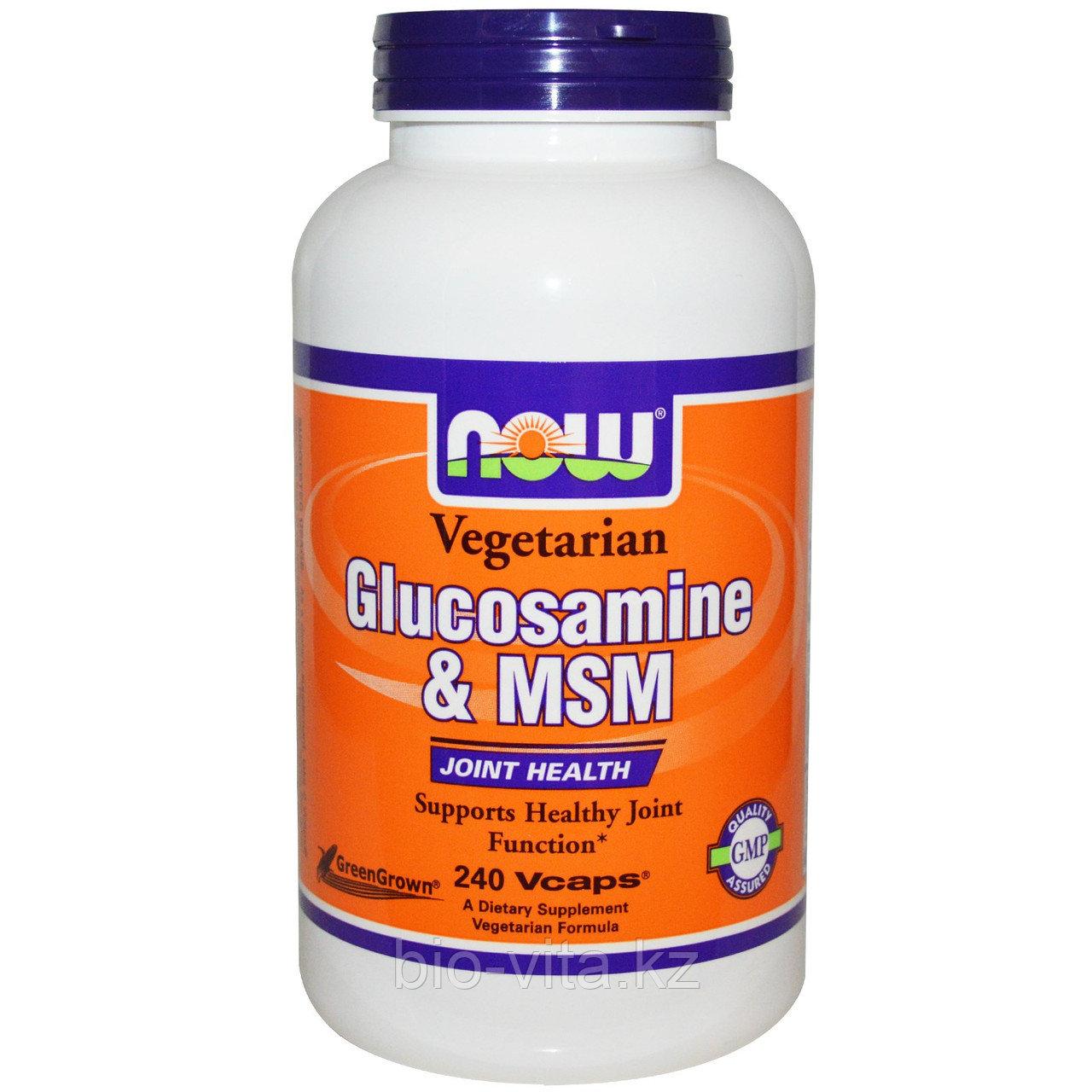 Глюкозамин и MSM, вегетарианский, 240 капсул Now Foods