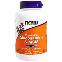 Глюкозамин и метилсульфонилметан(МСМ), вегетарианский, 120 капсул на растительной основе. Now Foods, фото 1