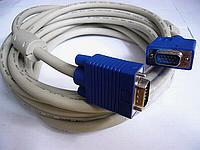 VGA кабель  M/M   1.5м,  2 феррит. кольца,белый/серый + синий коннектор, фото 1