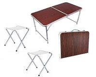 """Раскладной стол и стулья для пикника в чемодане FOLDING TABLE """"90* 60* 70 см"""" (туристический столик)"""