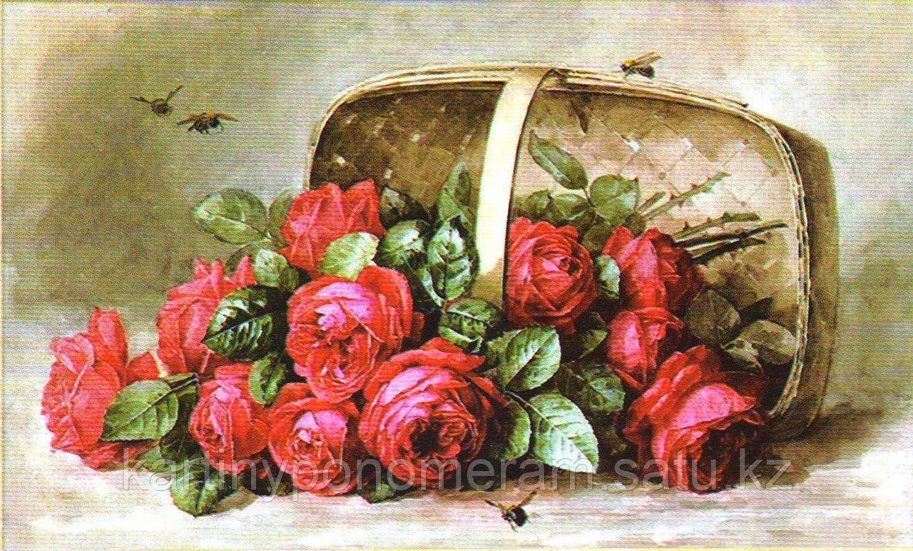 """Набор для вышивания бисером """"Розы в корзине"""" арт.501, 41х25 см"""