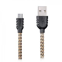 Плоский MicroUSB кабель Remax Data Cable, Double-sided для Sony (1м. золотистый)