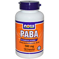 ПАБК,PABA.  500 мг, 100 капсул.  Now Foods