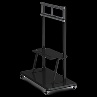 Prestigio Multiboard stand ST01 can accommodate all Screen Sizes from 42-84 Screens Includes roll wheels for easy adjustment of position, and shelf to