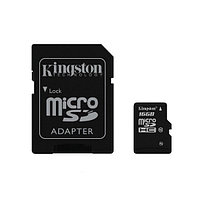 Карта памяти Kingston Class 10 MicroSDHC 16GB + адаптер для SD