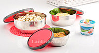 Контейнер для еды (ланч бокс) Homio ROUND STEEL STAINLESS Food container 3 в 1 (красный)