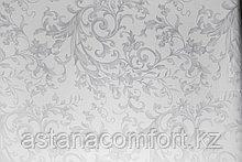 Простынь бязь – жаккард, белая с потайным глянцевым рисунком, евро-размер.
