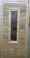 Дверь банная из лиственницы со стеклом  (коробка сосна) 180*80