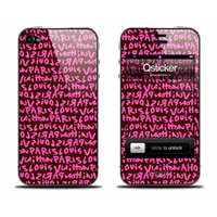 Наклейка qsticker apple iphone 4/4s, виниловая, louis vuitton pink
