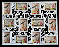 "Фоторамка настенная на 12 фото ""FAMILY and LOVE"" (белая) 70 х 54 см"