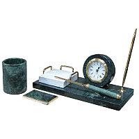 Набор настольный 4 предмета, зеленый мрамор
