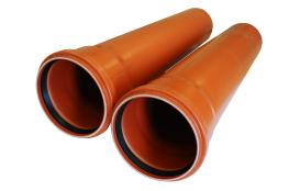 Труба канализационная д110х500 оранжевая КОНТУР для наружных работ