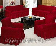Натяжные чехлы на диван большой, диван малый и кресло. Цвет – бордо.