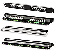 "Hyperline PP-19-16-8P8C-C5e-SH-110D Патч-панель 19"", 1U, 16 портов RJ-45 полн. экран., категория 5e, Dual IDC"