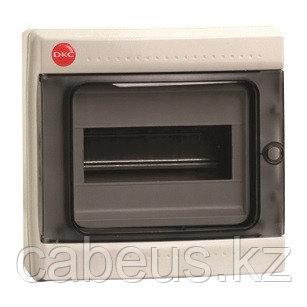 DKC / ДКС 85608 Щиток настенный 1 ряд, 8 модулей, с прозрачной дверцей, без клеммных колодок, IP65, цвет серый RAL 7035