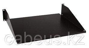 "Hyperline TASS-380-RAL9004 Полка угловая сплошная 19"", 2U, ширина 444 мм, глубина 381 мм, цвет черный (RAL 9004)"