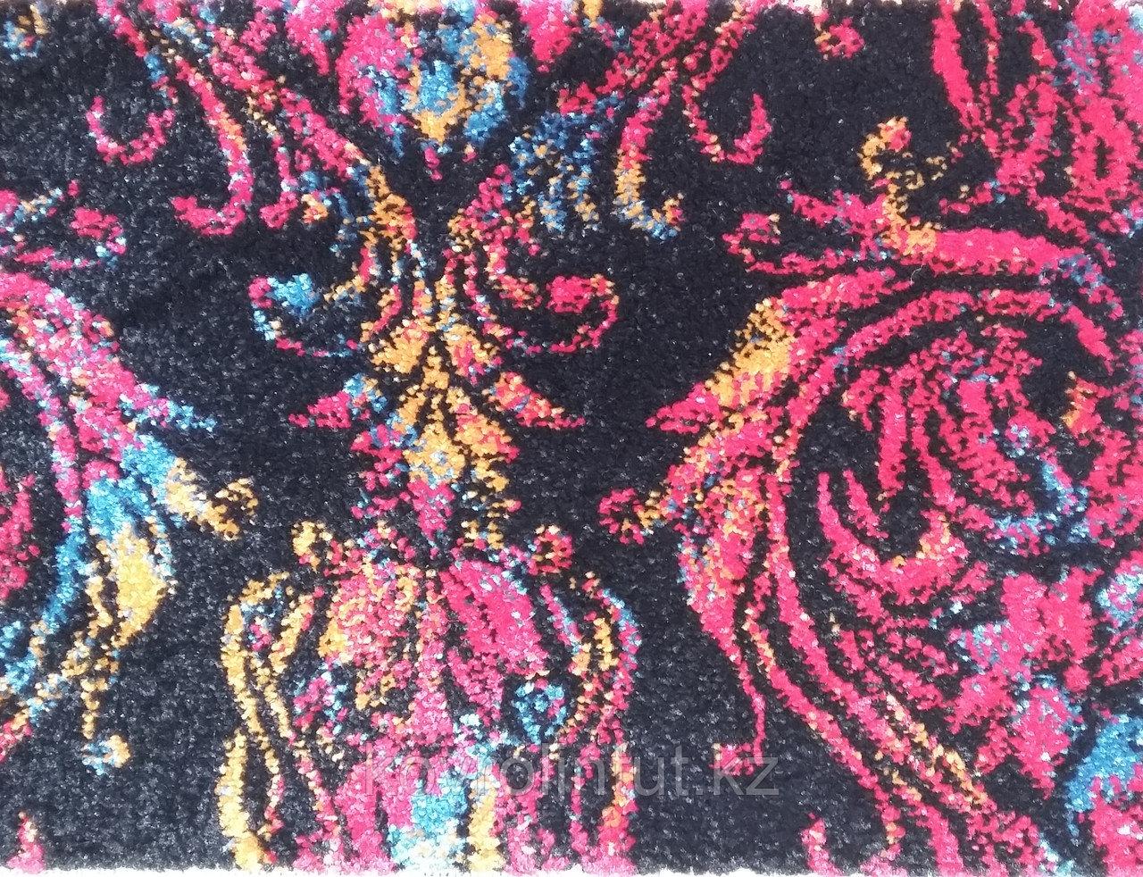 Ковролин (ковролан) FRISE KOLIBRI Чёрный с разноцветным орнаментом 4,0м опт/розн