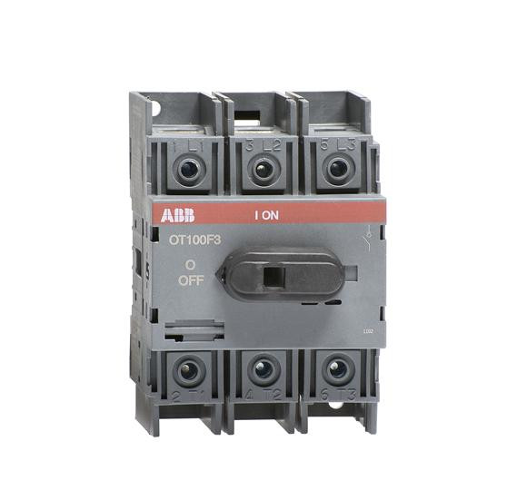 1SCA105004R1001 Рубильник OT100F3 до 100А 3х-полюсный для установки на DIN-рейку или монтажная плата (с резерв. ручкой)