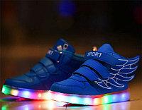 LED Кроссовки детские со светящейся подошвой высокие, синие крылья, фото 1