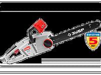 Пила цепная (электропила), ЗУБР ЗЦП-2000-02, продольный двиг-ль, защита руки (тормоз цепи), масляный бачок, см