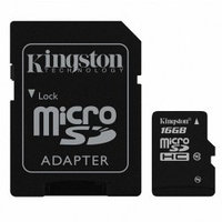 Карты памяти Kingston Kingston 16GB microSDHC Class 10 + adapter MicroSD to SD
