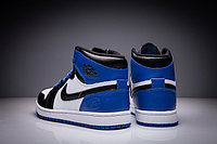 "Кожаные кроссовки Air Jordan 1 Retro ""Black/Blue/White"" (36-47), фото 5"