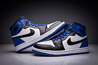 "Кожаные кроссовки Air Jordan 1 Retro ""Black/Blue/White"" (36-47), фото 2"