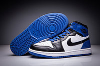 "Кожаные кроссовки Air Jordan 1 Retro ""Blue/Black/White"" (36-47), фото 1"