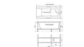 Акриловая ванна АЛЕКСАНДРИЯ-150*75*63, фото 3
