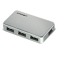USB-хаб Crown CMH-B19 BLACK/SILVER, фото 1