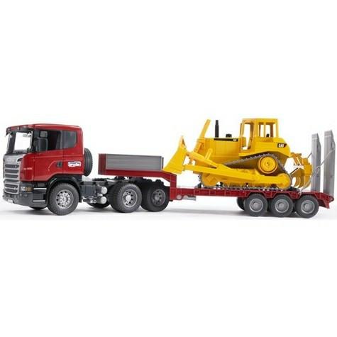 Брудер Прицеп платформа Bruder Прицеп платформа Scania с гусеничным бульдозером CAT