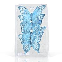 Декор Бабочка из органзы 11х9см голубые KA703842