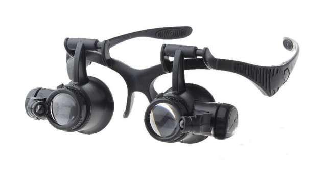 Лупа-очки бинокулярная с LED подсветкой, 10X 15X 20X 25Х (Magnifier 9892G), Астана