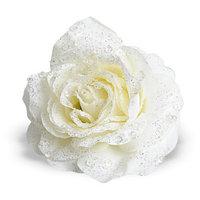 Декор Роза кремовая с блеском на клипсе d=14см KA629252