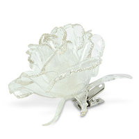 Декор Роза прозр/серебр с блеском на клипсе 9см KA517640