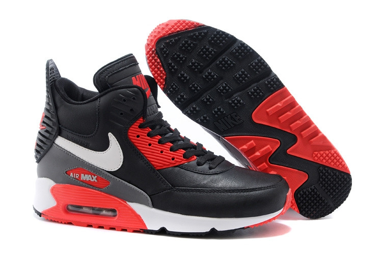 49522dd4 Зимние кроссовки Nike Air Max 90 Sneakerboot Black Red White (40-45 ...