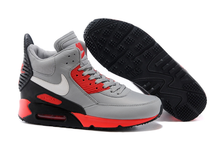 072ca4ce Зимние кроссовки Nike Air Max 90 Sneakerboot Grey Red Black (40-45 ...