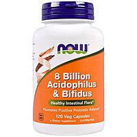 Now Foods, 8 млрд.  Ацидофилус и Бифидобактерии, 120 капсул