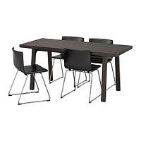 Стол и 4 стула ВЭСТАНБИ/ ВЭСТАНО / БЕРНГАРД темно-коричневый ИКЕА, IKEA