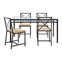 Стол и 4 стула ГРАНОС черный стекло ИКЕА, IKEA