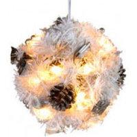 Декор электр. еловый шар d0,18м белый с шишками.661-53