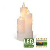 Свеча светильник LED 3 восковых белых свечи h19x8см 67-42