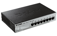 D-Link DES-1210-08P/C2A, WEB Smart III Switch with 8 PoE ports 10/100Mbps Fanless, 802.3x Flow Control, Static Port Trunking, 4094 – 802.1Q VLAN,