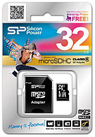 МикроСД 32гб SP Silicon Power (10ый класс, microSD + адаптер)