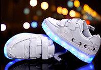 LED Кроссовки детские со светящейся подошвой, белые низкие